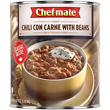 582269800 Chef-mate Beef Chili, Chile Beans with Meat, Chili Nachos, Heat and