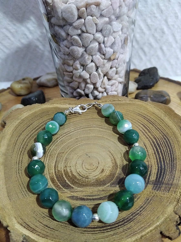 Pulseras de plata y de piedras semipreciosas de ágatas facetadas en verde. Adaptables 20 cm a 21 cm.