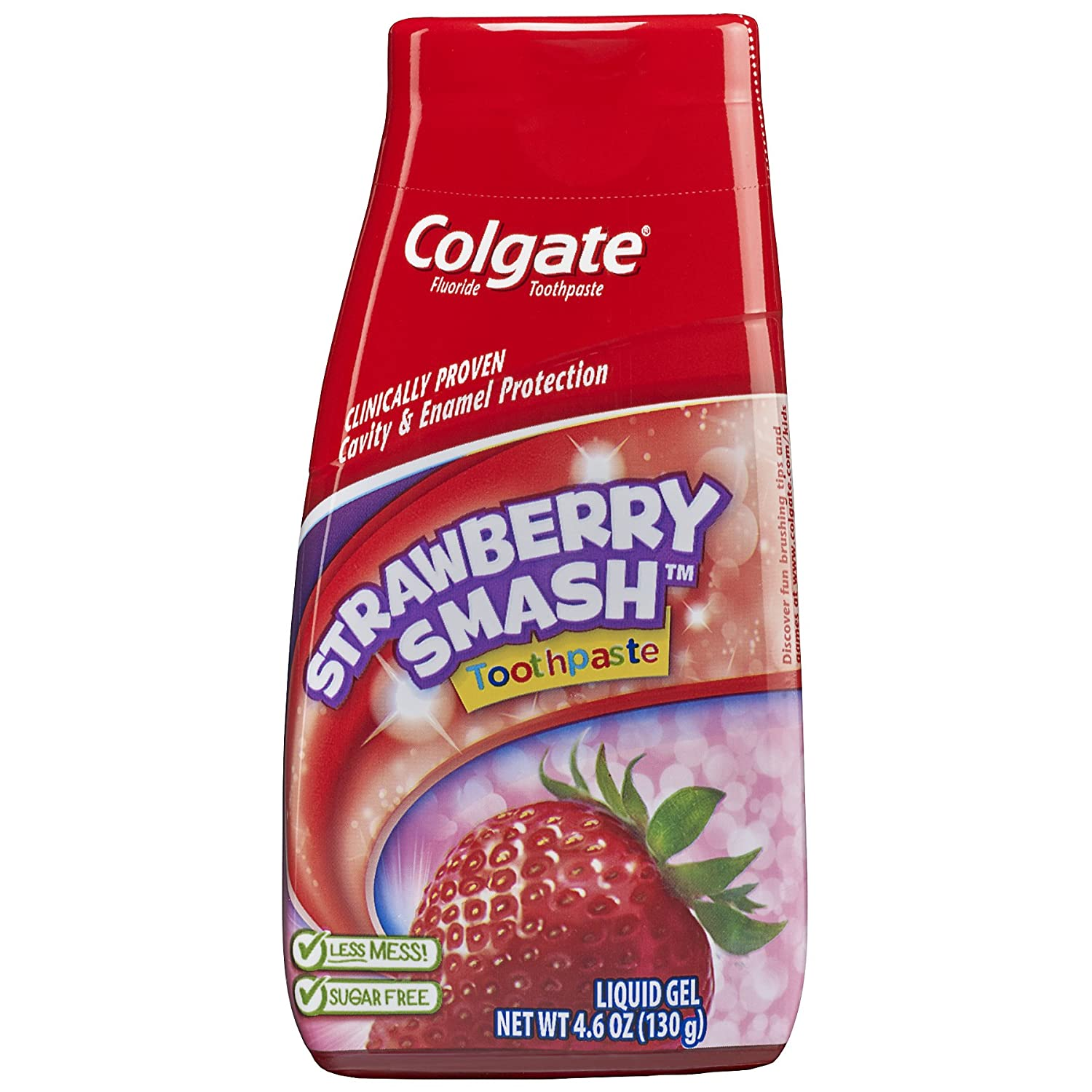 Colgate Kids 2 In 1 Toothpaste & Mouthwash, Strawberry, Liquid Gel, 4.6 Ounce (130 g) 0003500078228