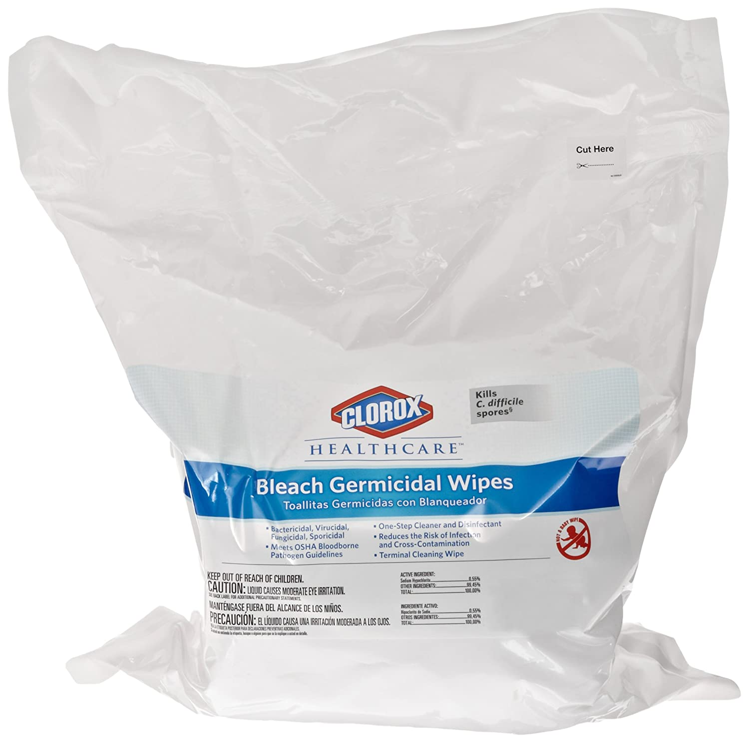 Amazon.com: Clorox 30359 Healthcare Bleach Germicidal Wipe, Refill (110 Count): Industrial & Scientific