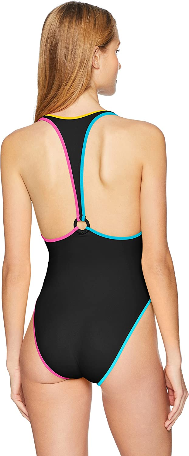 COCO RAVE Womens V-Neck One Piece Swimsuit with Ring Racer Back Detail