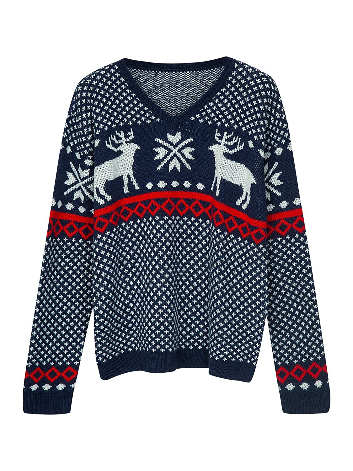 1940s Style Mens Shirts, Sweaters, Vests Choies Mens Ugly Christmas Sweater Fashion Christmas Sweater With Snowflake Pattern $29.99 AT vintagedancer.com