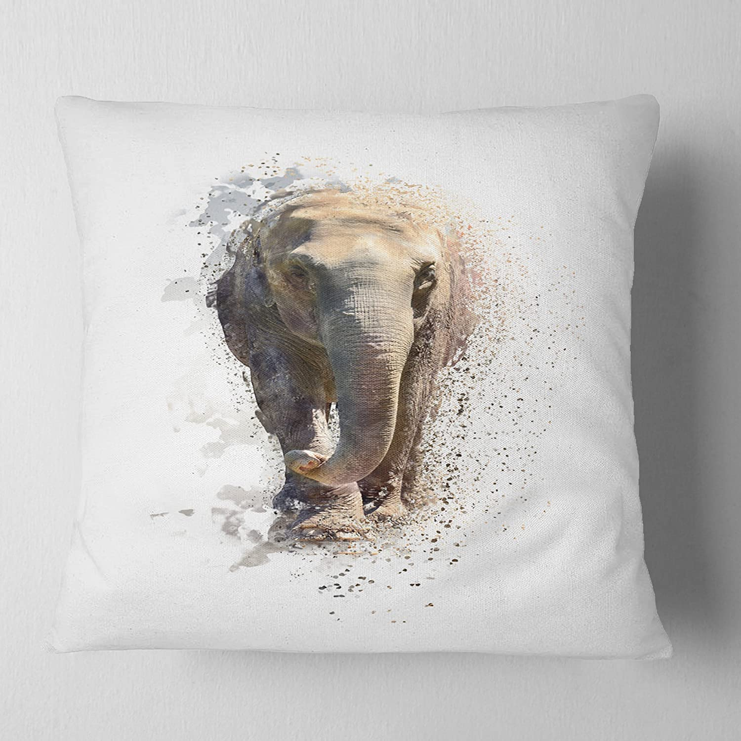 in Sofa Throw Pillow 16 in x 16 in Designart CU13434-16-16 Large Elephant Portrait Animal Cushion Cover for Living Room