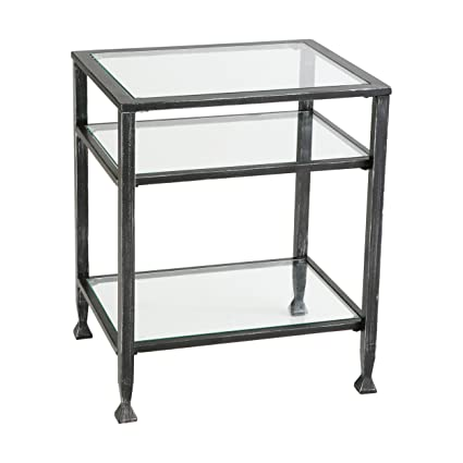 Southern Enterprises Bunching Glass Side End Table, Black With Silver  Distressed Finish
