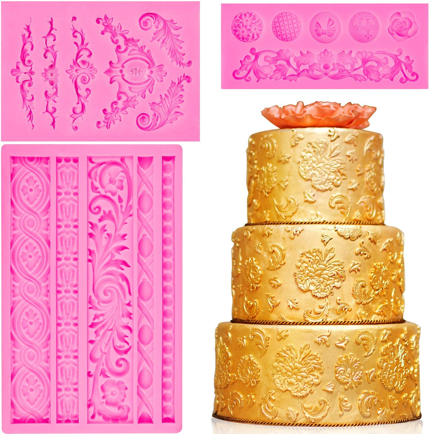 3 Pieces Baroque Fondant Mold Scroll Border Lace Molds Curlicues Fondant Silicone Molds for DIY Baking Cake Candy Decoration, Polymer Clay, Sugar Craft