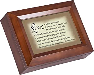 Cottage Garden Love Patient Kind Never Fails Woodgrain Digital Keepsake Music Box Plays My Wish
