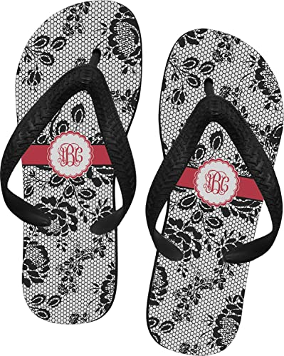 XSmall RNK Shops Black Lace Flip Flops Personalized