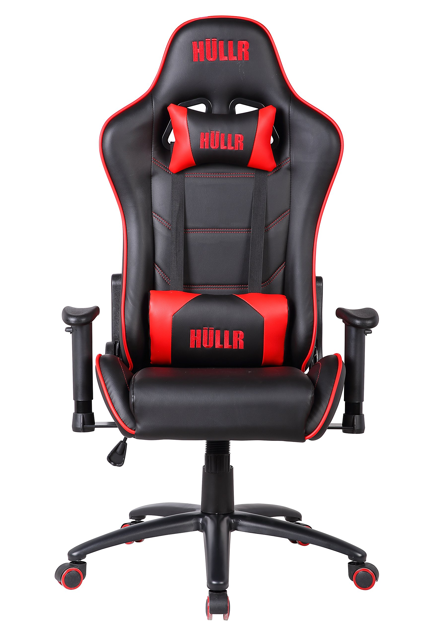 HULLR Gaming Racing Computer Office Chair, Executive High Back GT Ergonomic Reclining Design with Detachable Lumbar Backrest & Headrest (PC PS4 XBOX Laptop) (Black/Red)