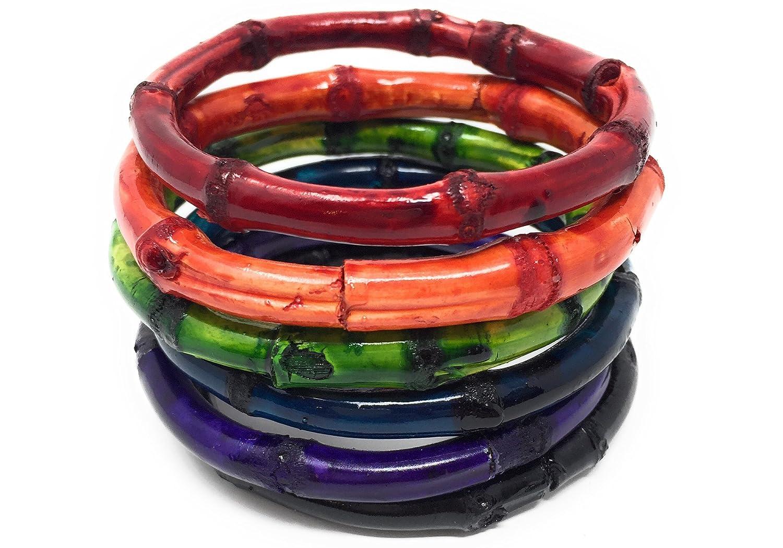 3b492d883e3 Amazon.com: Sidecca Tiki Pinup Natural Bamboo Bangle Bracelet Set (Assorted  Colors (Round, Set of 6)): Jewelry