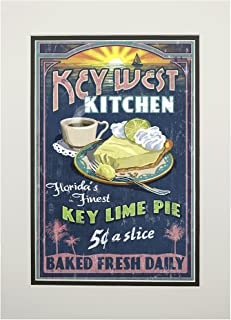 product image for Key West, Florida - Key Lime Pie Vintage Sign (11x14 Double-Matted Art Print, Wall Decor Ready to Frame)