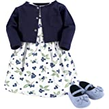 Hudson Baby Baby-Girls 3 Piece Dress, Cardigan, Shoe Set Sleeveless Casual Dress