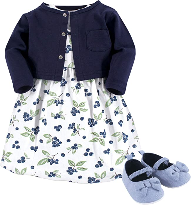 b8465e88d2bad Girl Baby Cardigan, Dress and Shoes