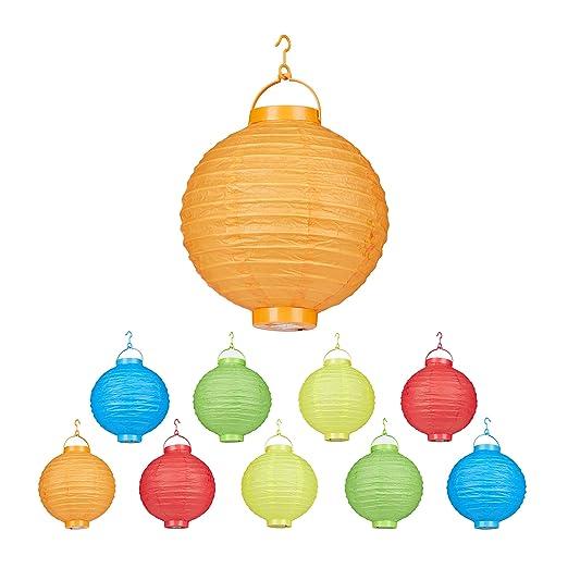 Relaxdays LED Lampions bunt, 10 Stück, batteriebetrieben, Draußen & Drinnen, zum Aufhängen, Papierlaterne Ø 20cm, farbig