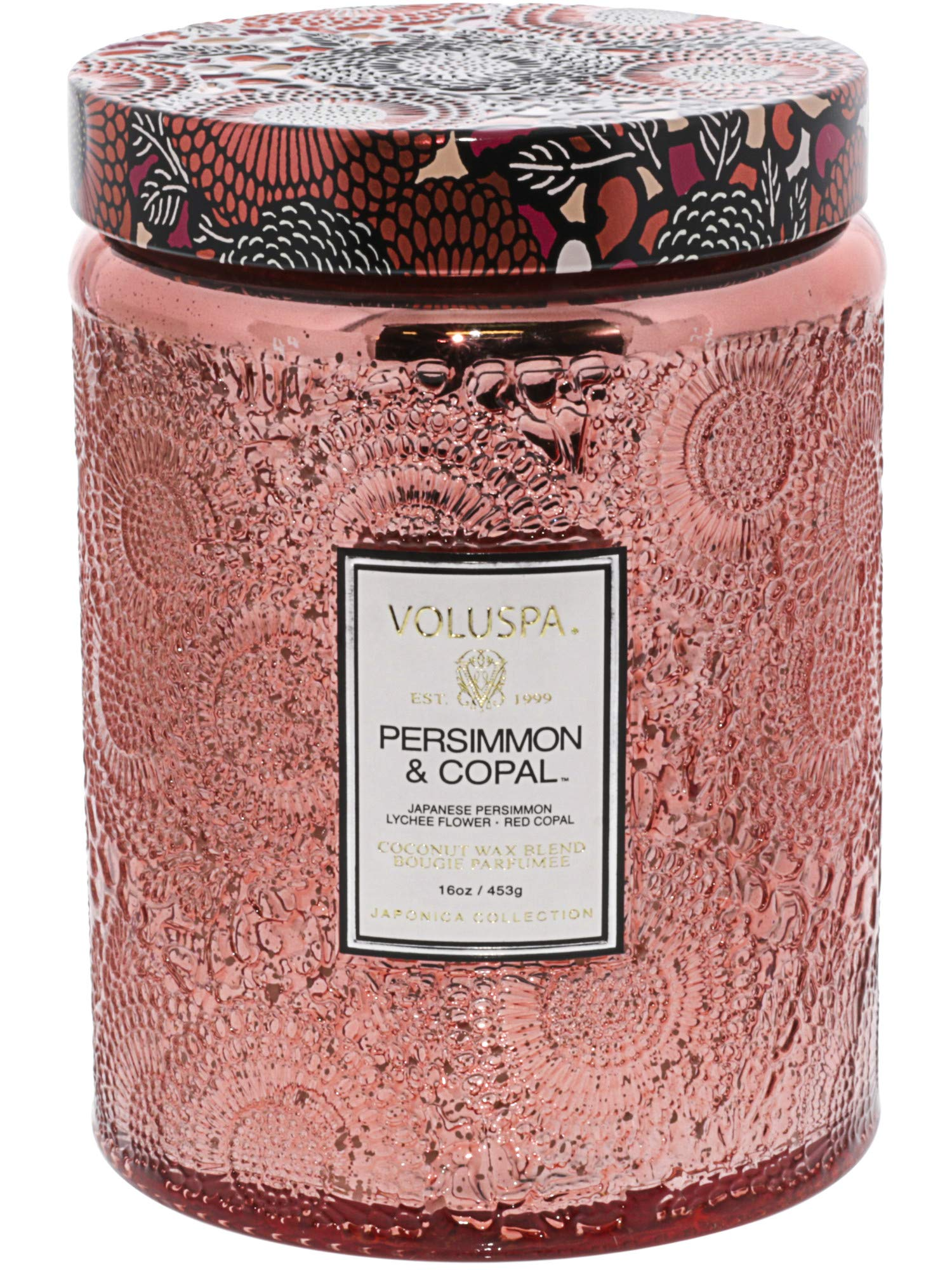 Voluspa Persimmon and Copal Large Glass Jar Candle, 16 Ounce