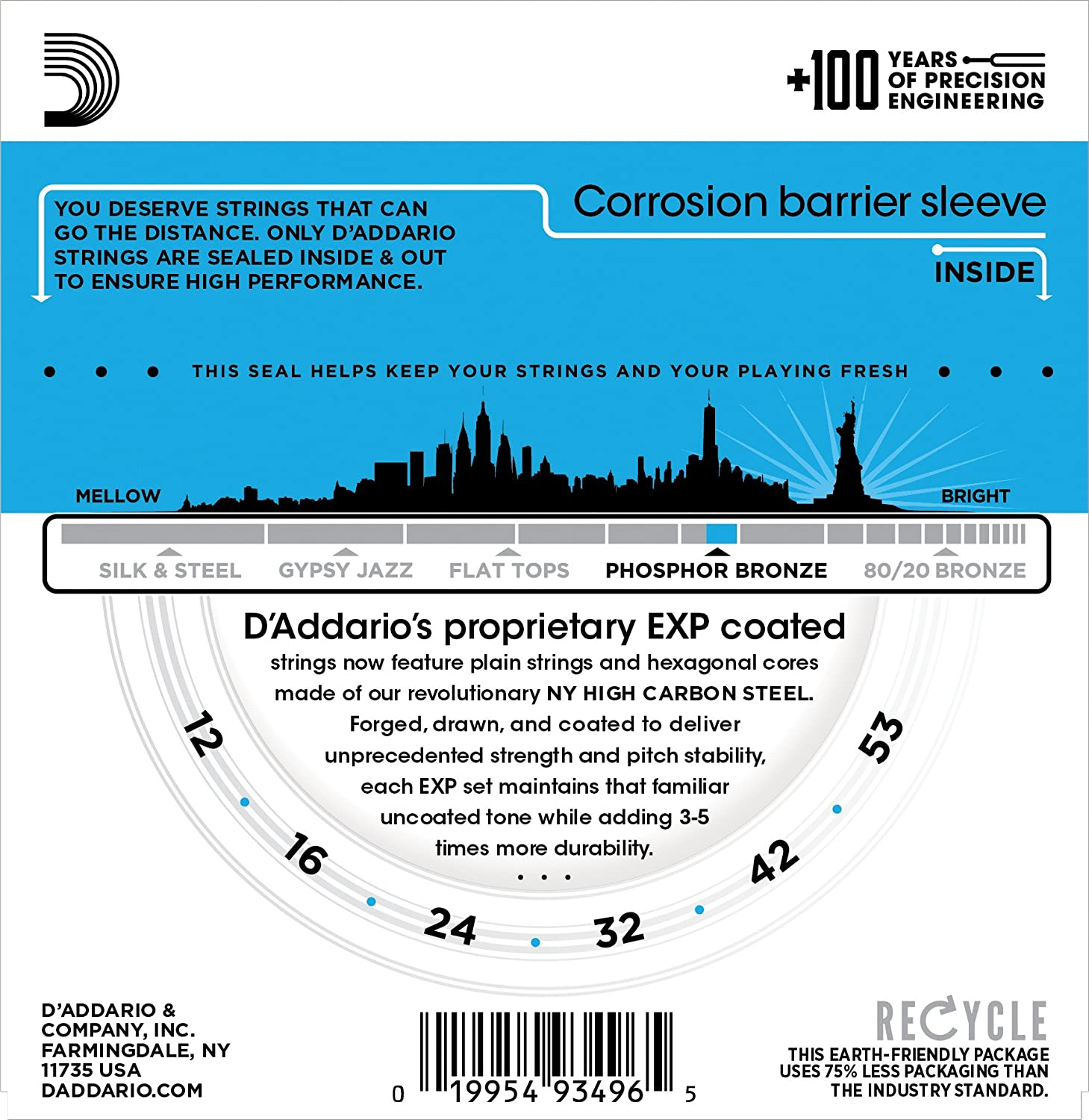 Daddario Exp16 With Ny Steel Phosphor Bronze Acoustic Guitar Wiring Diagram Strings Coated Light 12 53 Musical Instruments