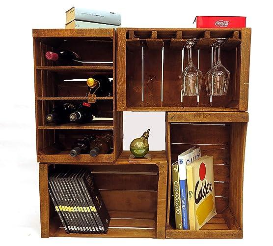 Cajones de fruta, botelleros, librero, mini mueble bar modular compuesto por 4 cajas