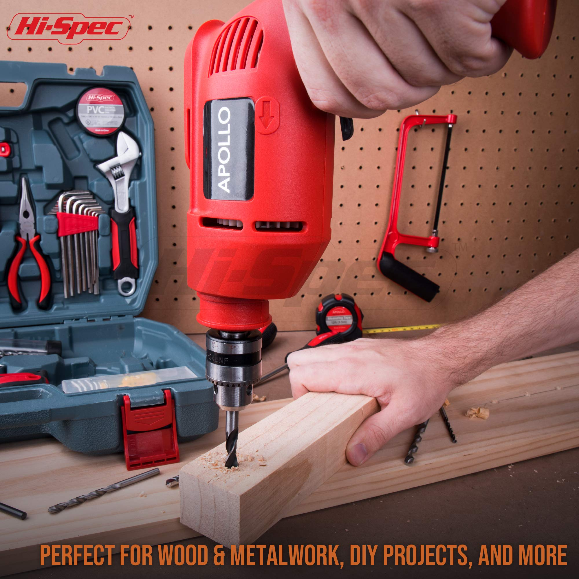 Hi-Spec Complete 130pc 110V 300W Hammer Power Drill & Hand Tool Set Combo Kit with Hacksaw, Pliers, Claw-Hammer, Wrench, Box Cutter, Hex Keys, Screwdrivers, Socket and Driver Bits, Voltage Tester Case by Hi-Spec (Image #5)