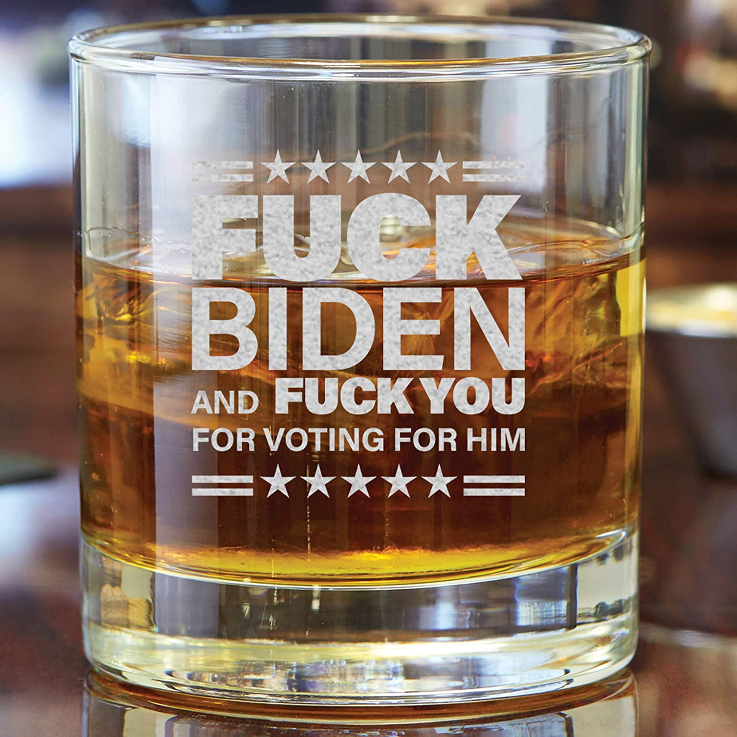 wedding gift 20oz Fuck Biden and Fuck you for voting for him etched wine glass drinking glass stemless wine glass