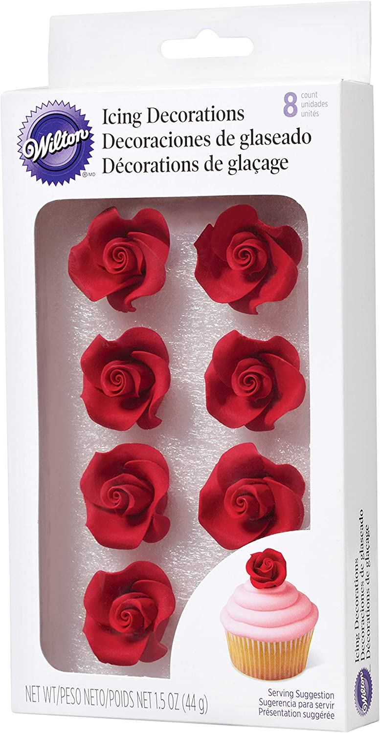 Wilton Rose Shaped Icing Decorations, 8-Count