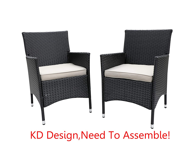 Do4U 2 Pcs Rattan Wicker Outdoor Dining Chairs Patio, Backyard, Porch, Garden, Poolside 3016-BLK-GRY