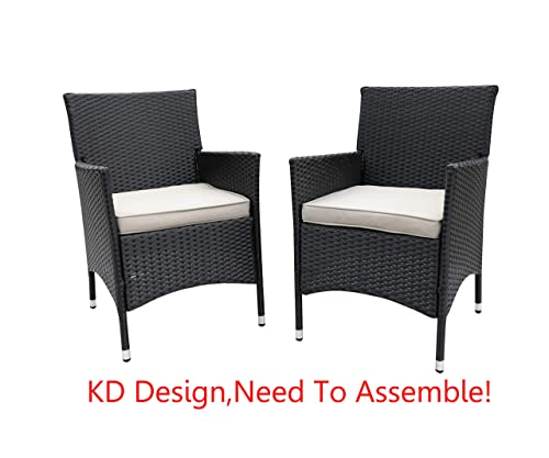 Do4U 2 Pcs Rattan Wicker Outdoor Dining Chairs Patio