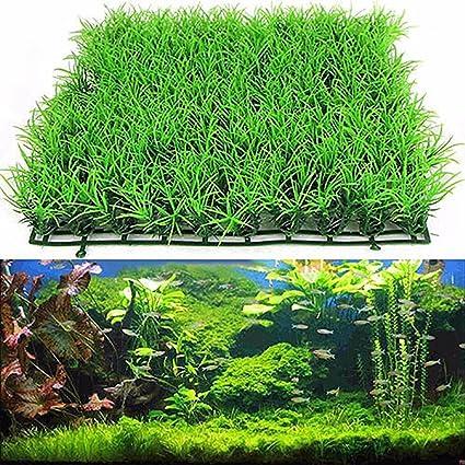 Woopower Acuario Césped Artificial, Plástico Verde Agua Hierba Planta Acuario Césped Decoración para Pecera