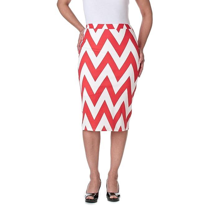 00ec7983e945 Riverberry MOA Collection Chevron Stretch Knit Pencil Skirt, Coral/White,  Small