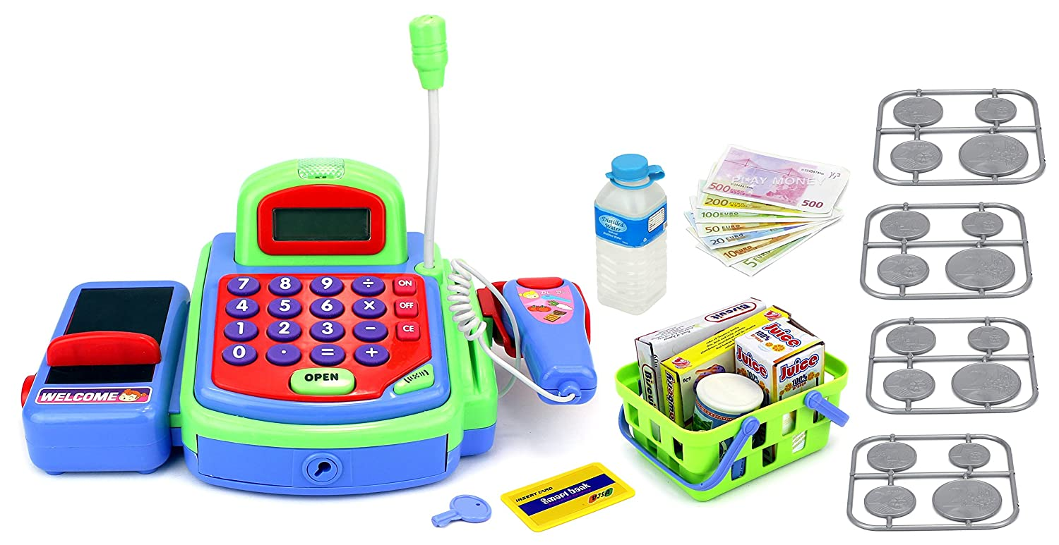 Velocity Toys My First Cash Register Pretend Play Battery Operated Toy Register w/ Microphone, Scanning Action, Calculator, Money, Groceries
