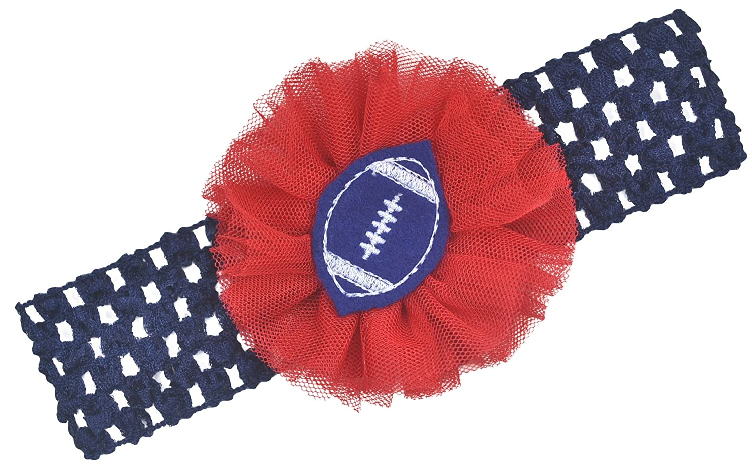 Amazon.com  Football Team Fan Tulle Flower Baby and Toddler Headband (Navy    Red)  Baby 4b955fda55f