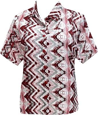Hawaiano botón de la Camisa Blusas Mujeres Abajo relajados Mangas Cortas Campo marrón XL: Amazon.es: Ropa y accesorios