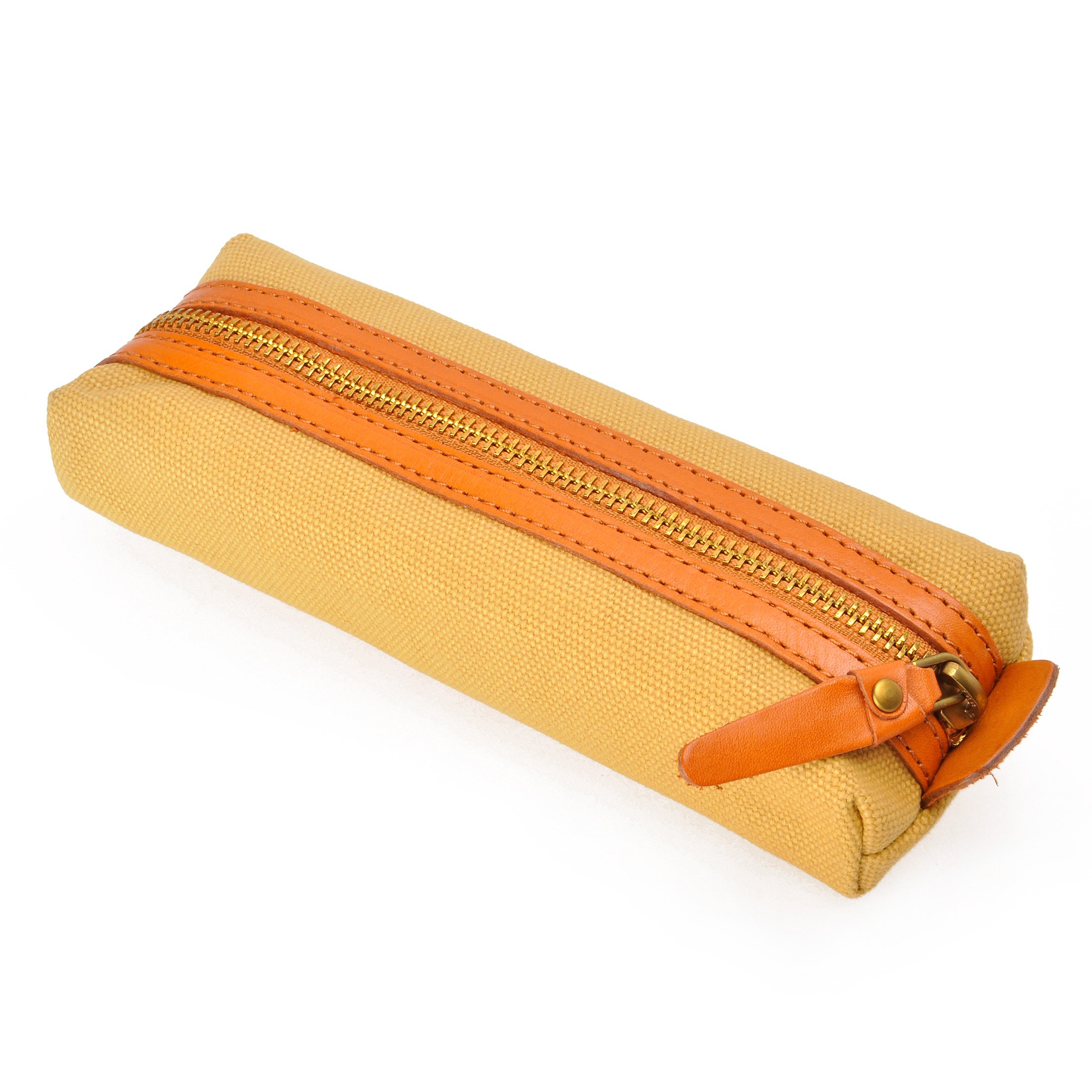 Slim Canvas Pencil Pouch Pen Bag Stationery case Gadget Bag Small Storage Bag (yellow2) by ZLYC