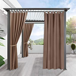 RYB HOME Outdoor Curtains Waterproof - Blackout Exterior Shades for Front Gazebo/Patio Panel Thermal Insulated Drapes for Garden/Balcony, 1 Piece, Width 52 by Length 120 inch, Mocha