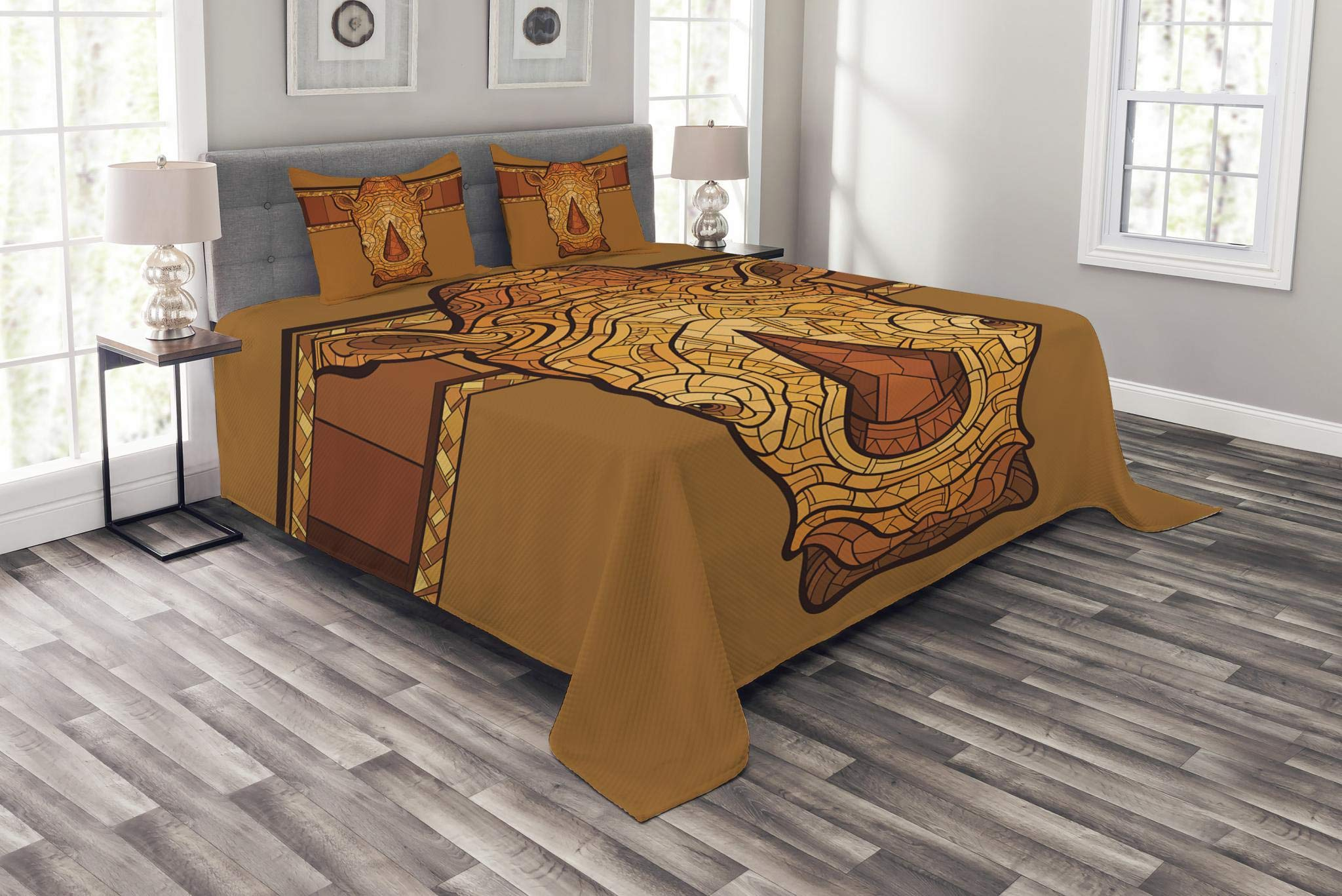 Lunarable Animal Bedspread Set King Size, Vector Illustration of a Rhinoceros Head with an Ethnic Ornament Print, Decorative Quilted 3 Piece Coverlet Set with 2 Pillow Shams, Cinnamon Pale Coffee