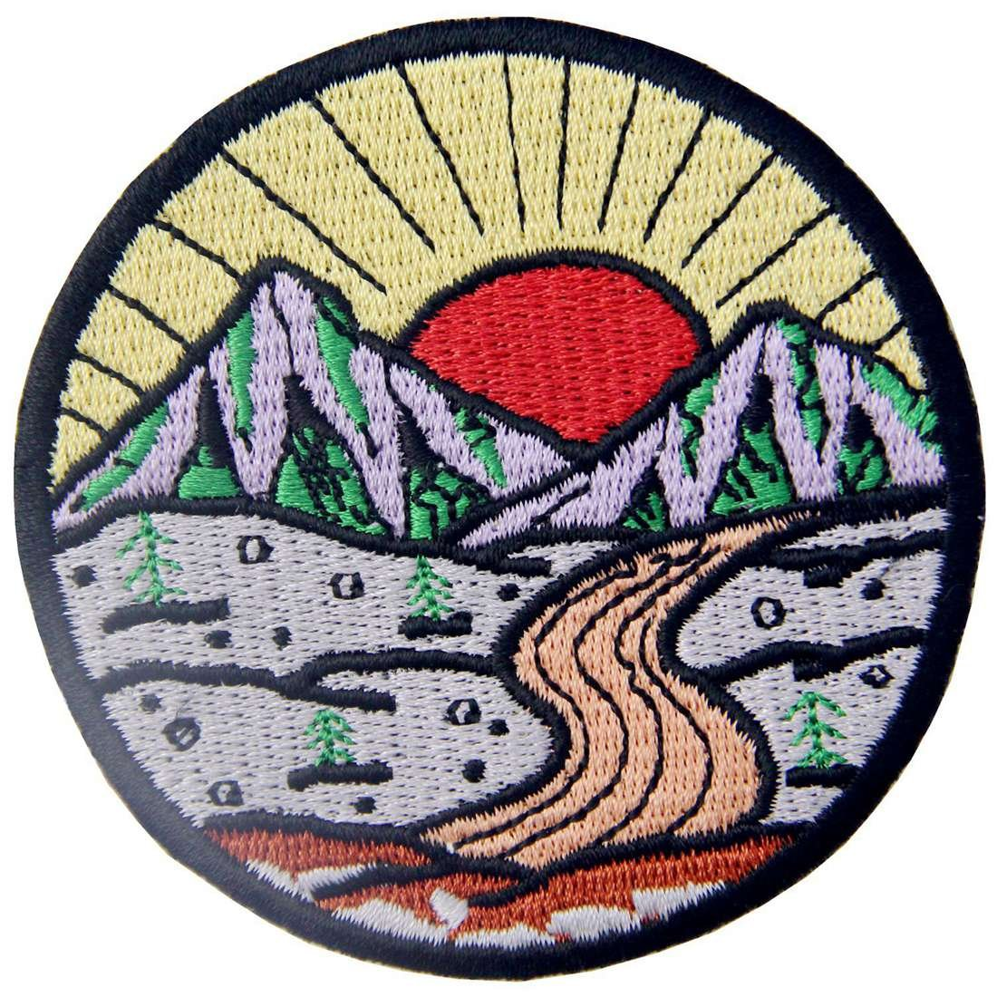 Sunrise from Mountain Vintage Explore Outdoor Patch Embroidered Applique Iron On Sew On Emblem