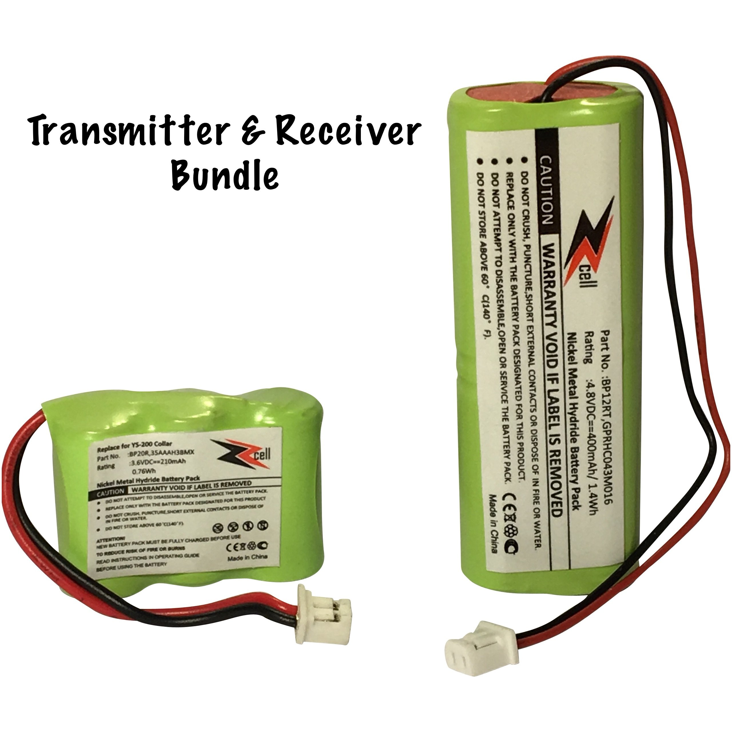 ZZcell 2-Pack Bundle Battery for Dogtra Transmitter BP12RT Receiver BP20R, 200NCP, 202NCP, 280NCP, 282NCP, 300M, 302M, 7000M, 7002M by ZZcell