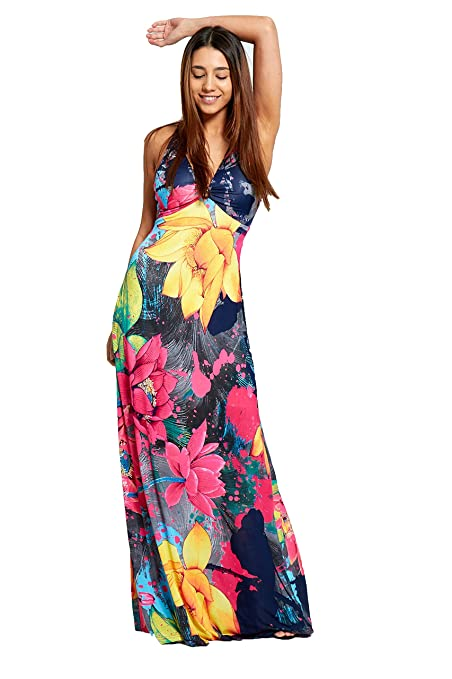 1e9e86fa0052 biHo® Damen Sommer Ring Plunge V-Ausschnitt Rücken Detail Floral Print  Lange Maxi Kleid  Amazon.de  Bekleidung