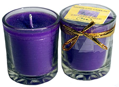 Aroma-Lite Candles Lavender Scented Votive Glass Candle For Home Decor ,Set Of 2 Candles