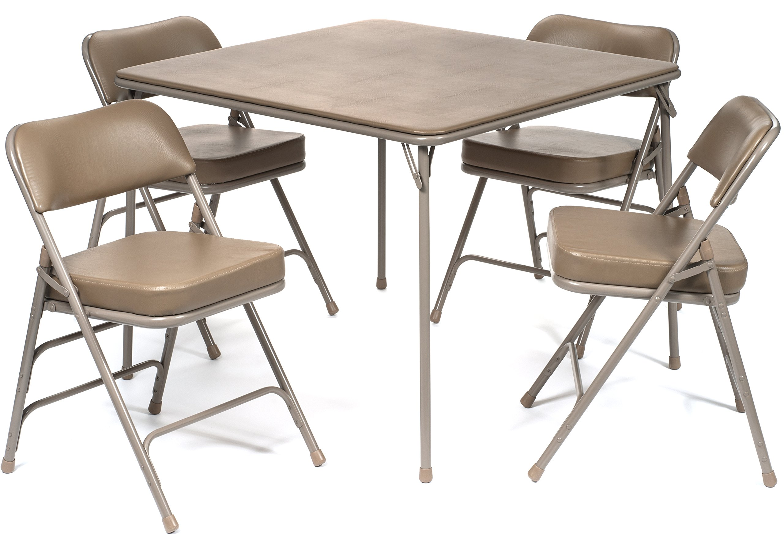 5pc. XL Series Folding Card Table and 2 in. Ultra Padded Chair Set, Commercial Quality, Beige by Folding Chairs and Tables