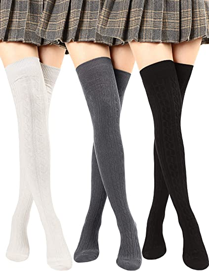 SATINIOR 3 Pairs Women Extra Long/Striped Over Knee Thigh High Stockings Socks Orange and Black Costume Accessories for Women Halloween