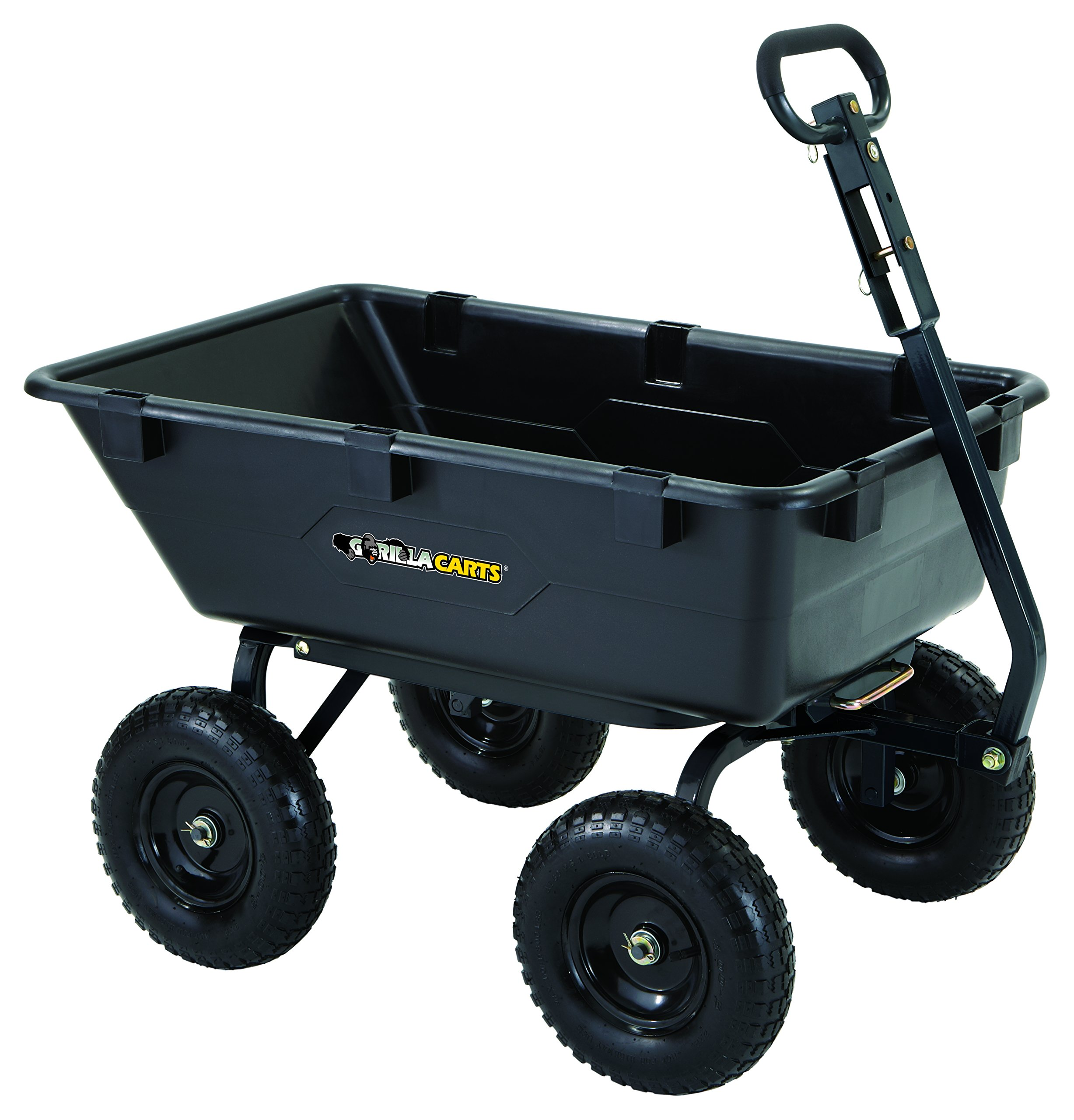 Gorilla Carts GOR6PS Heavy-Duty Poly Yard Dump Cart with 2-In-1 Convertible Handle, 1,200-Pound Capacity, Black by Gorilla Carts