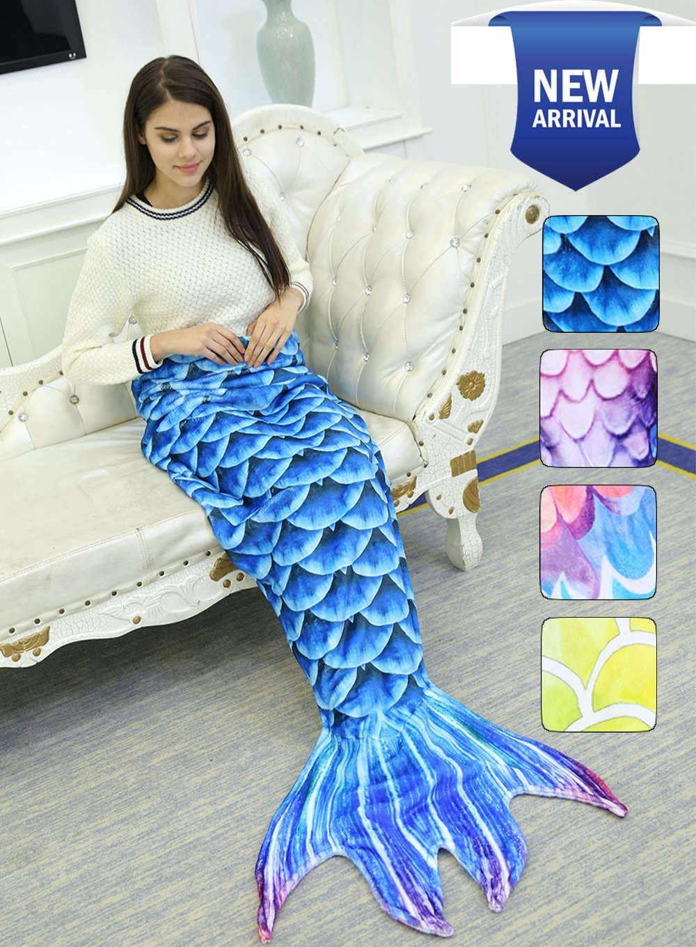 Mermaid Tail Blanket for Kids Adults Girls Women Coral Fleece Sleeping Bag Summer Air Condition Sofa Bed Towel Comforter for Indoor Home Winter Keep Warm Gifts Birthday Christmas (B-Adults Blue Fish)