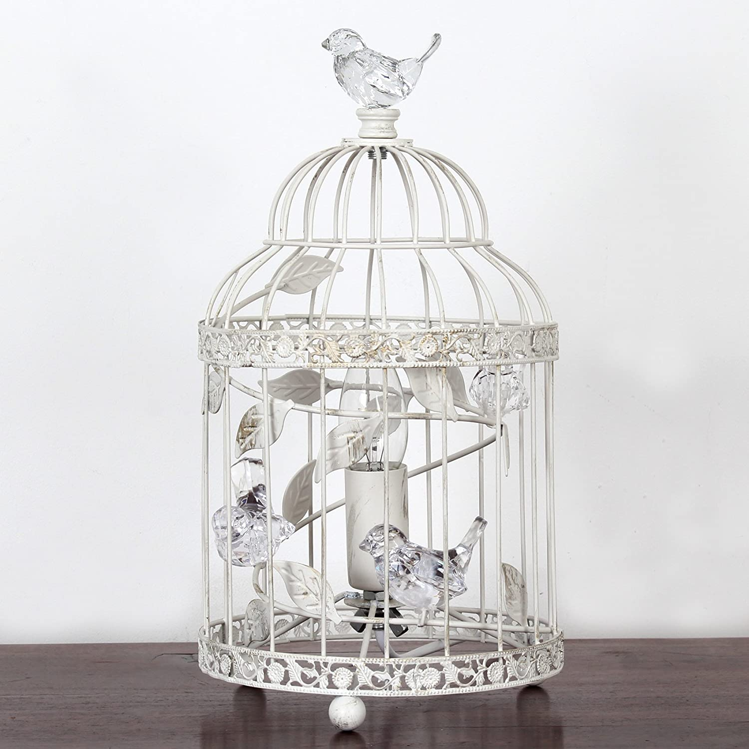 Vintage Bethany Birdcage Metal Table Lamp With Acrylic Birds Ivory