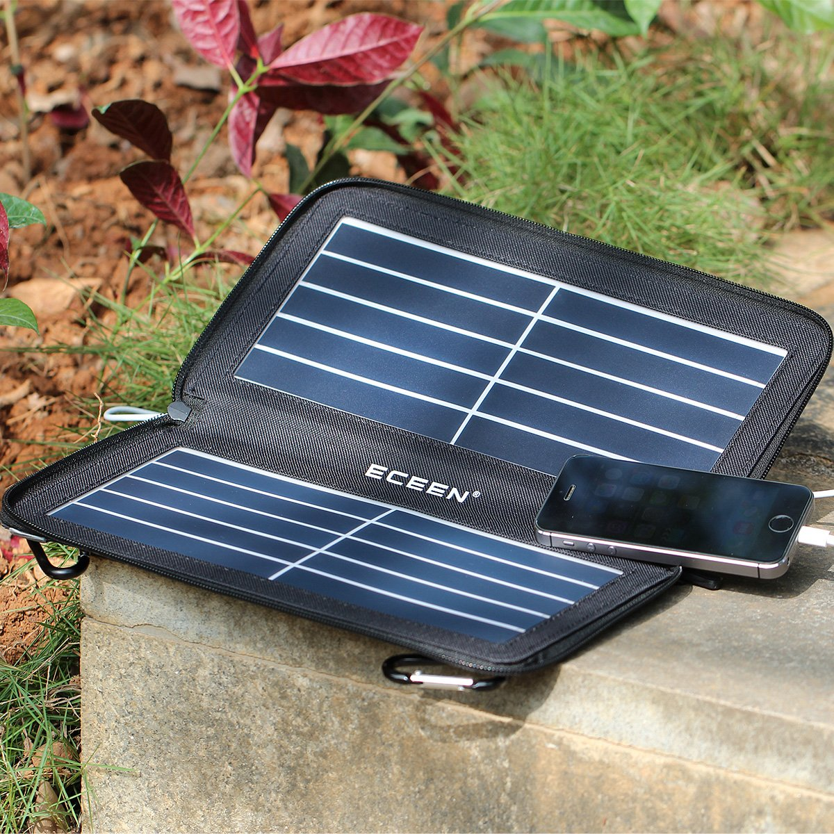 ECEEN Folding Solar Panel Phone Charger With USB Port,Zipper Pack for iPhone, iPad, iPods, Samsung, Android Smartphones Speaker Gopro All 5V USB-Charging Devices (Black) by ECEEN (Image #5)