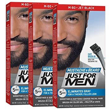 Amazon.com : Just For Men Mustache & Beard Brush-In Color Gel, Jet ...