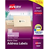 """Avery Matte Frosted Clear Address Labels for Laser Printers, 1"""" x 2-5/8"""", 1,500 Labels (5660)"""