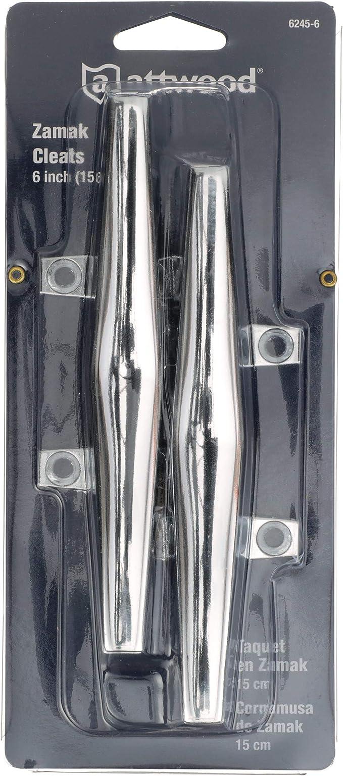 "New Hollow Base Cleats attwood Marine 6245-6 6/"" Chrome Zamak Fastener #10"