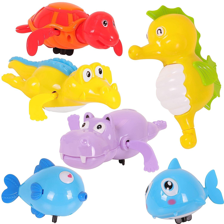 Baby Bath Toys Aquatic Theme Wind Up Toys Kangaroo Sea Life 6-Pack Each Bath Toy in Display Box; Kids Bath Toys