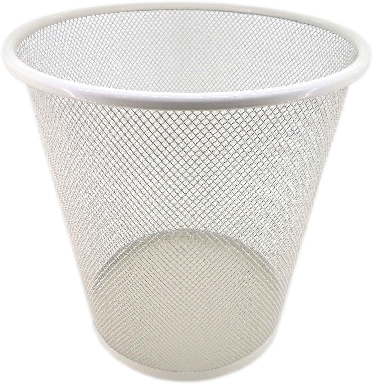 PAMEX Papelera de Rejilla Metálica (Blanco)