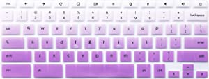 Silicone Keyboard Cover Skin Compatible 11.6 inch Samsung Chromebook 3 XE500C13 XE501C13, 11.6 inch Samsung Chromebook 2 XE500C12, 12.2 inch Samsung Chromebook Plus V2 2-in-1 XE520QAB, Ombre Purple