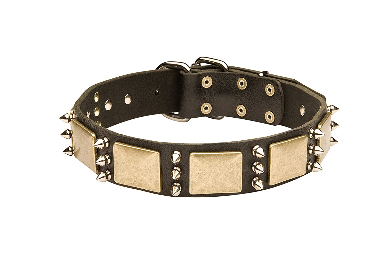 Black fits for 26 inch dog's neck size Black fits for 26 inch dog's neck size 26 inch Gorgeous War Dog Black Leather Dog Collar with Spikes and Plates  Noble Sir  1 1 2 inch (40 mm) wide